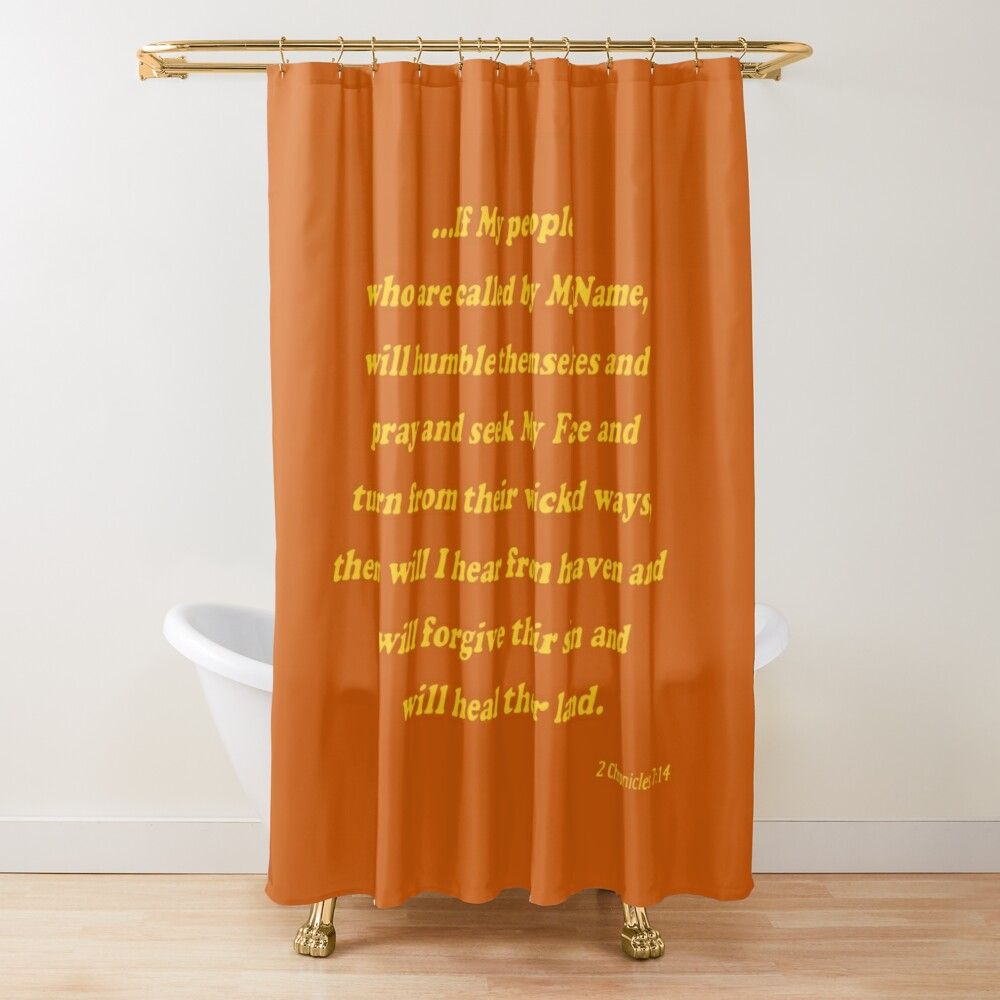If My People Scripture Gold On Burnt Orange Shower Curtain By Sbgart In 2020 Orange Shower Curtain Shower Curtain Burnt Orange