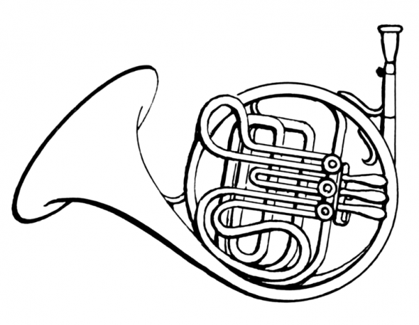 french horn coloring page