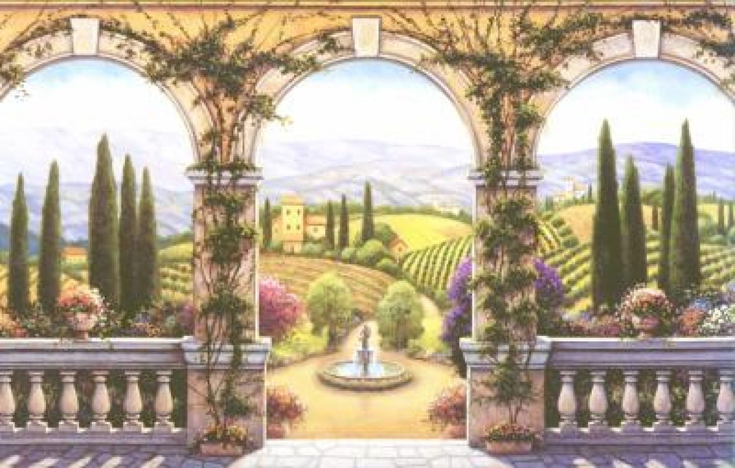 wallpaper borders and murals | Tuscan villa wallpaper mural ...