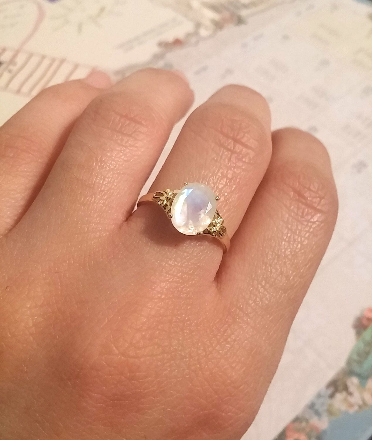Oval moonstone silver ring moonstone engagement ring vintage style