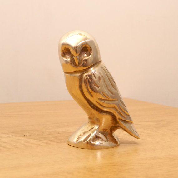 Brass Owl sculpture  vintage solid brass figurine of by UKAmobile