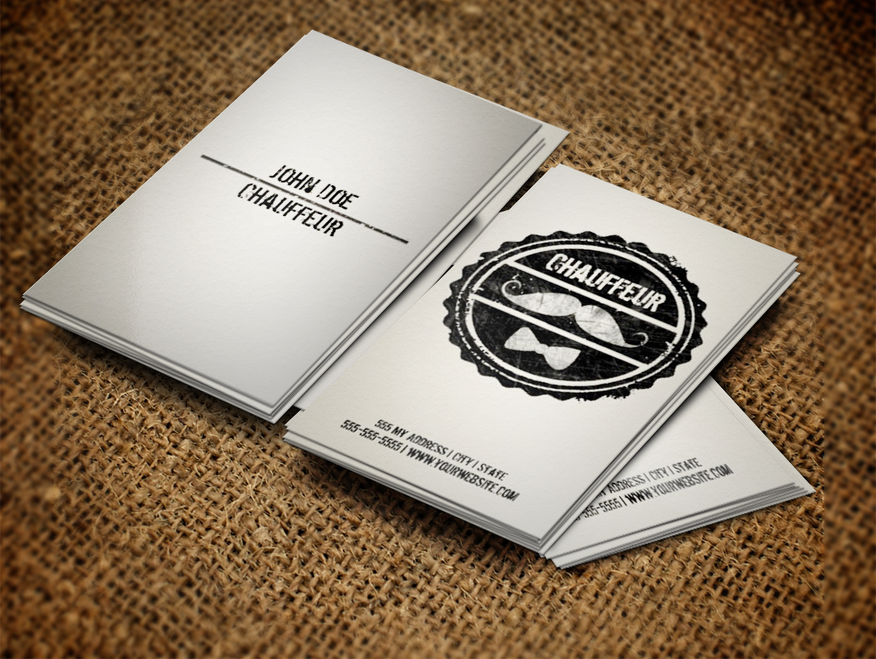 Chaueffeur Business Card Template With A Moustache And Bow Tie If You Like