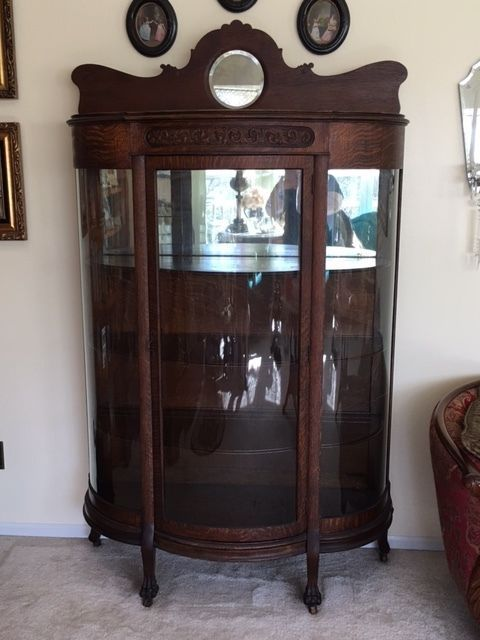 Lovely Antique Victorian Tiger Oak China Cabinet Intricate Scroll On Top With Decorative Claw Feet On B Oak China Cabinet China Cabinet Antique China Cabinets