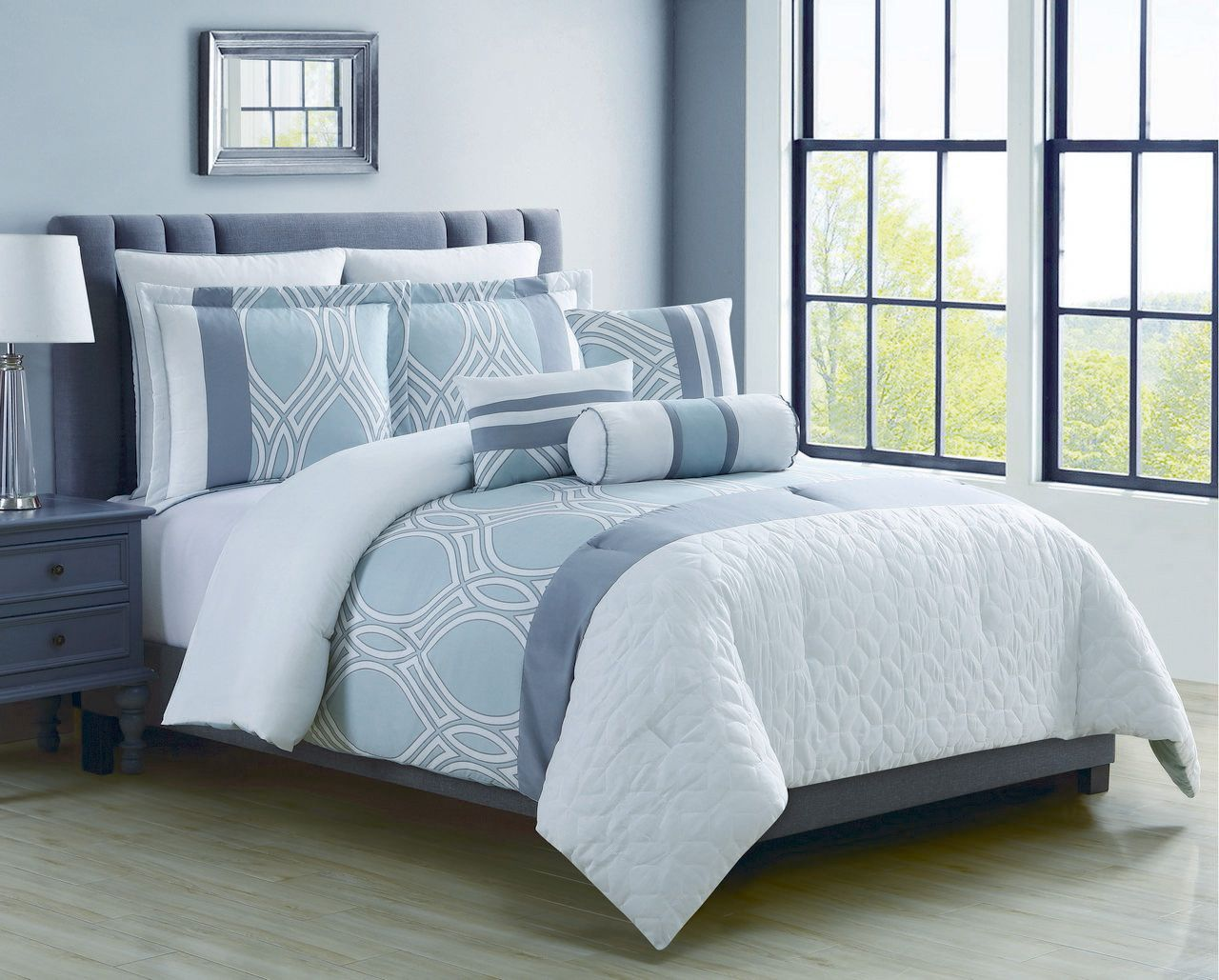 8 piece madlyn ice blue white comforter