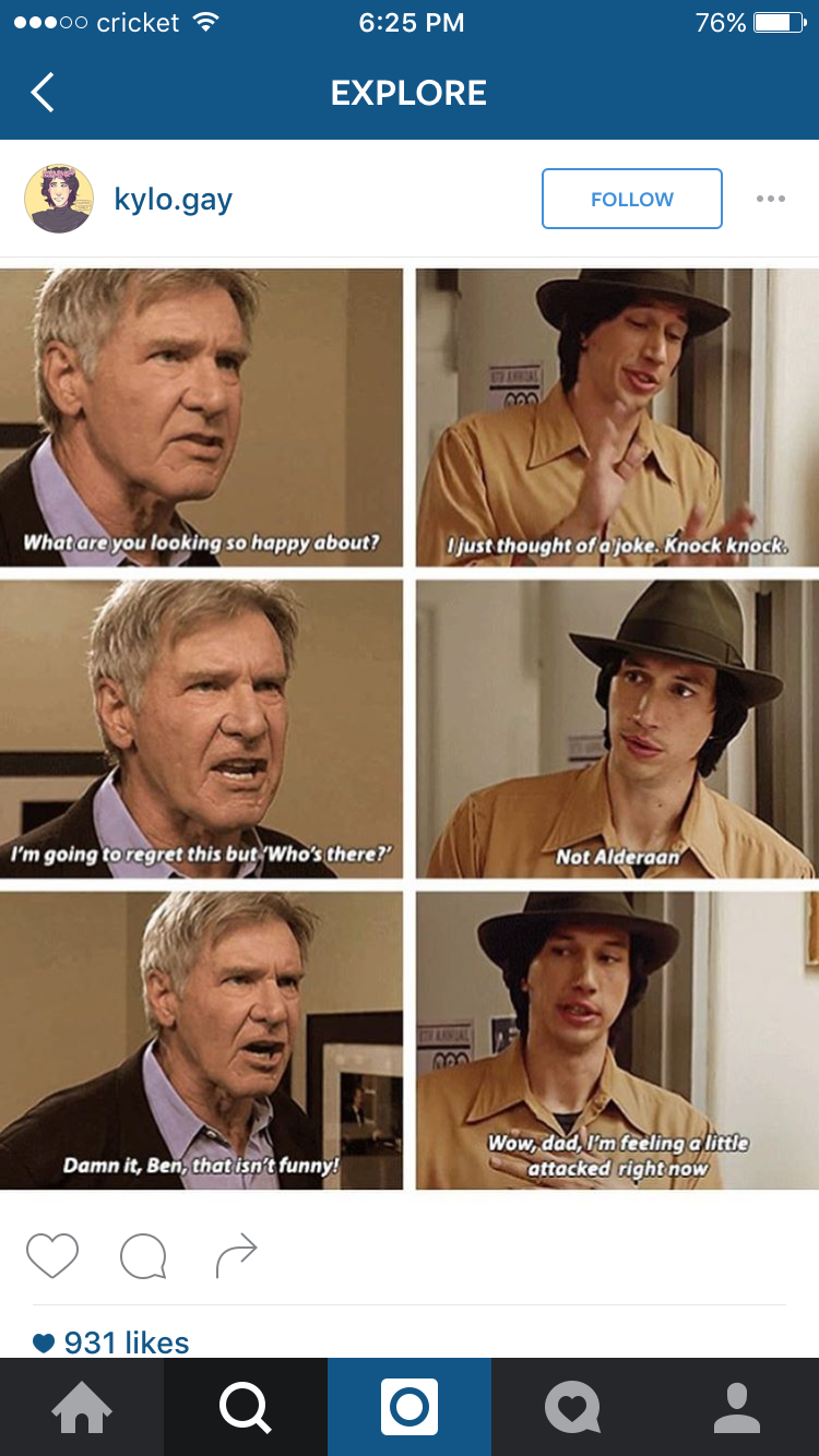 Pin By Hannah Decampos On Kylo Ren Funny Star Wars Memes Star