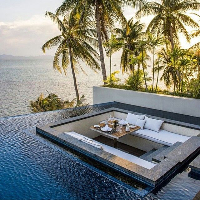 Sunken Fire Pit And Or Table, Surrounded By Infinity Lap