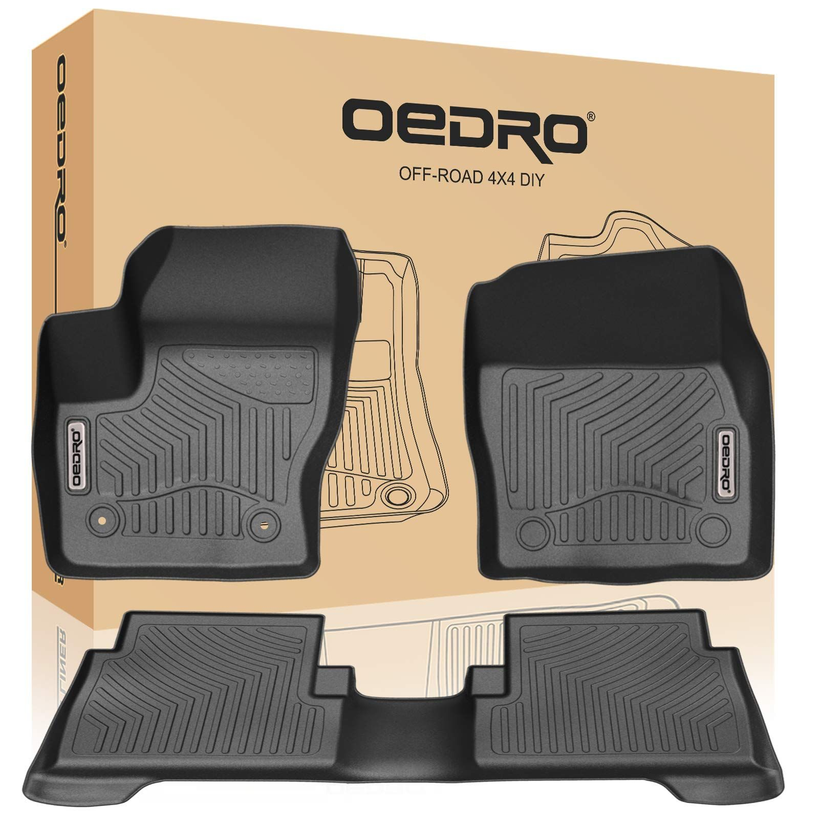 Front /& Rear Full Set All Weather Guard Floor Mat Floor Liners Floor Mats Compatible with Ford Explorer 2015-2019