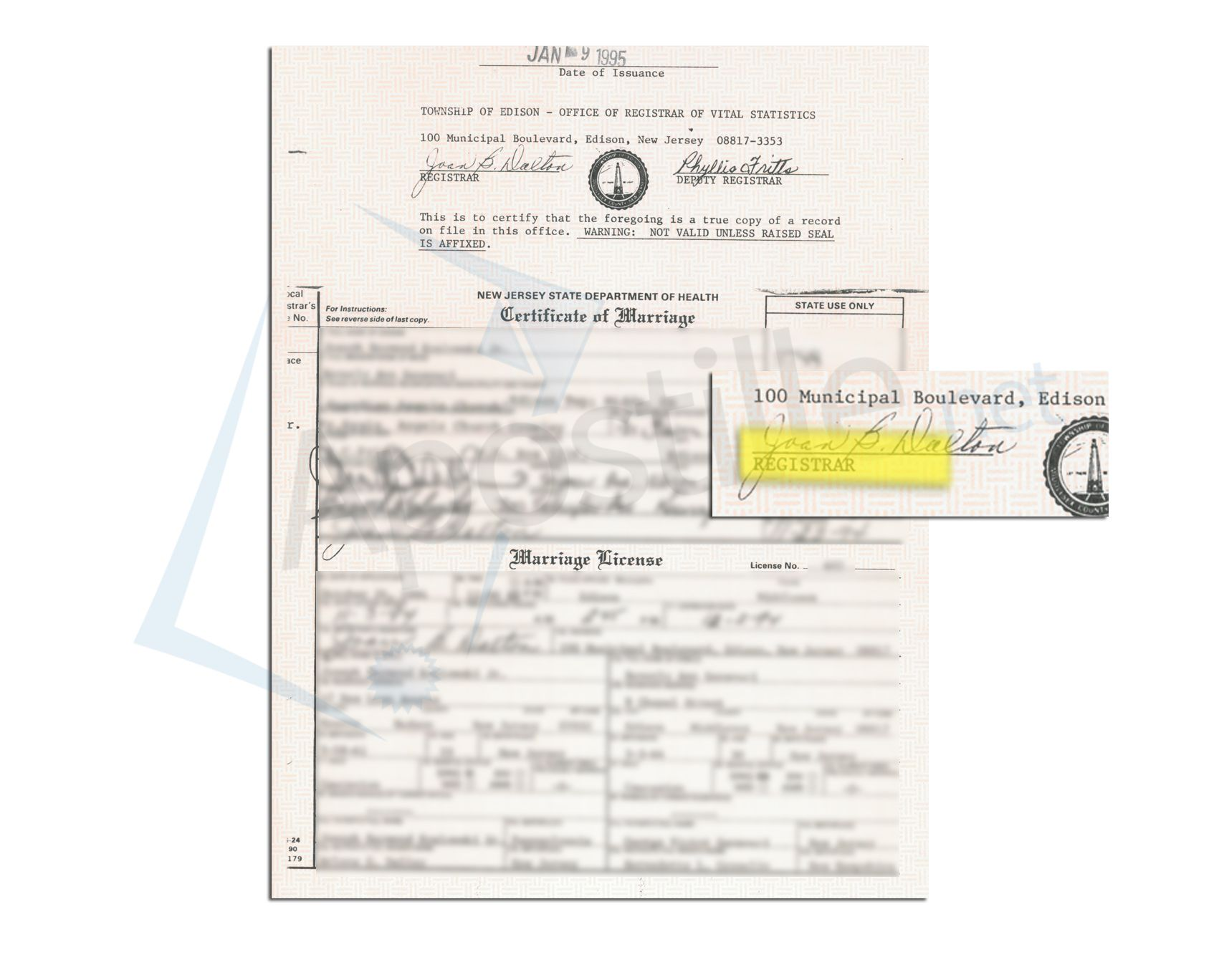 Edison New Jersey Marriage Certificate Issued By The County