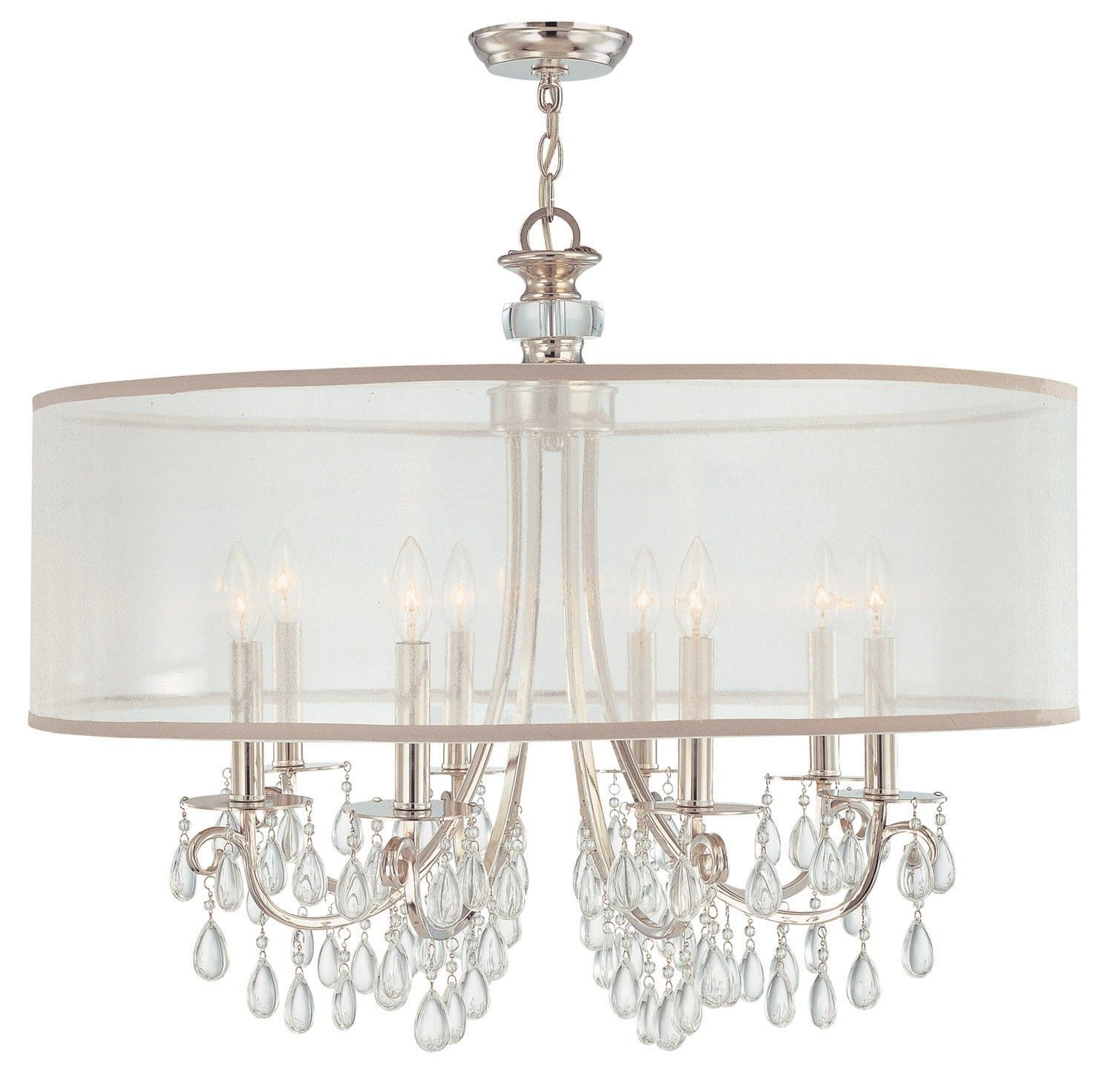 "Hampton 8 Light 32"" Polished Chrome Crystal Chandelier with Silver"