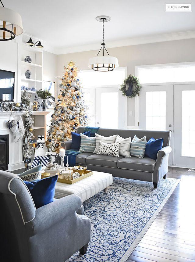 Christmas Home Tour Living Room With Blue White And Gold Blue And Gold Living Room Silver Living Room Christmas Living Rooms