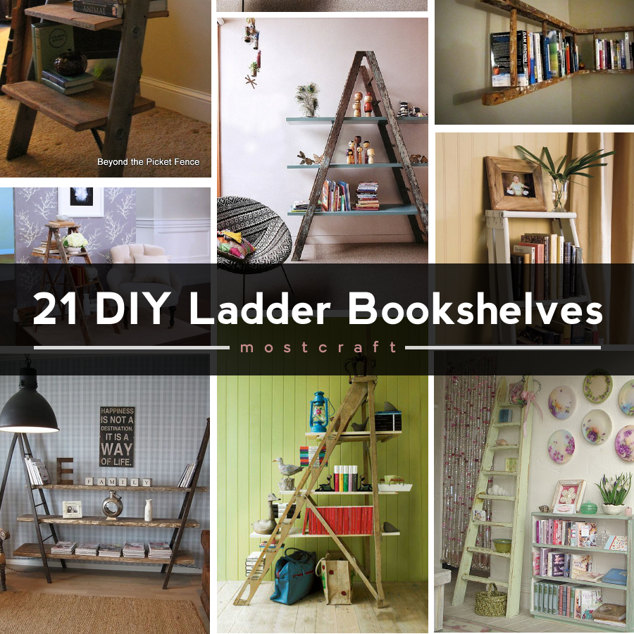 Discover diy ladder bookshelf and bookcase ideas that you can