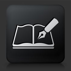 Black Square Button with Notebook & Pen Icon vector art illustration