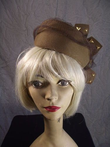 Vtg 50s Rockabilly Merrimac Wool Dimensional Studded Tilt Hat Toque | eBay
