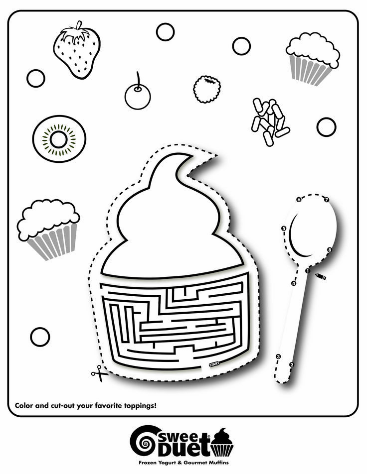 SweetDuet® Frozen Yogurt & Gourmet Muffins coloring page design ...