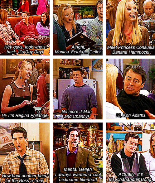 Friends nicknames | Friends moments, Friends tv, Friends forever