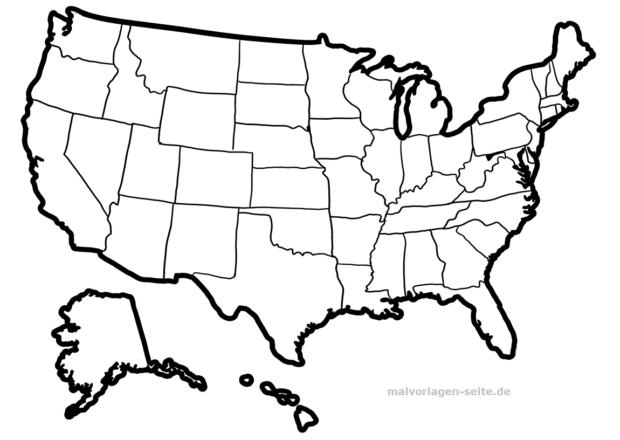 Landkarte Usa Zum Ausmalen Und Selber Gestalten Kostenlose A