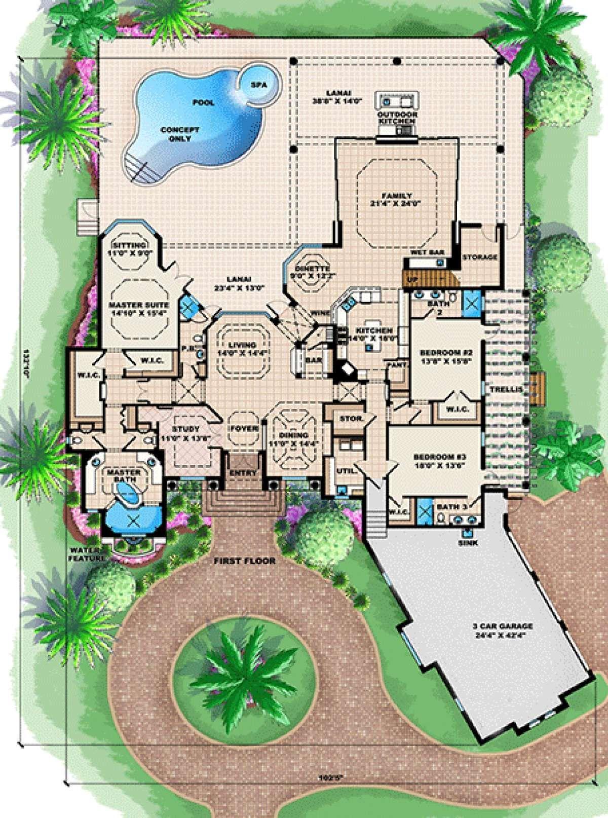 House Plan 1018 00167 Mediterranean Plan 5 087 Square Feet 4 Bedrooms 5 Bathrooms Tuscan House Plans Tuscan House Luxury House Plans