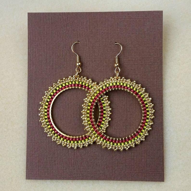 Handmade beaded hoop earrings summer seed beads