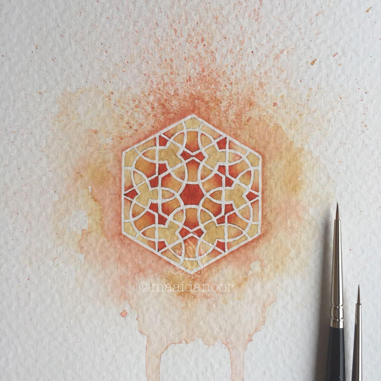 Geometry Watercolour Miniature Islamicart Maaidanoor Islami