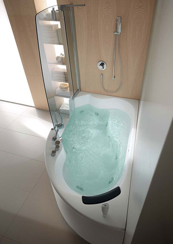 Teuco Corner Whirlpool Shower Integrates With Bathtub