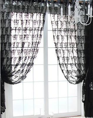 Black Lace Curtains Vintage Curtains Lace Window Curtains