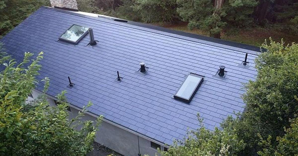 Beautiful and energy efficient. Tesla solar roof tiles!