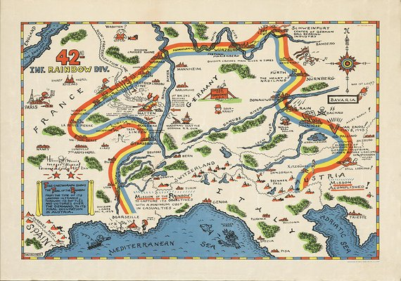 Set of 4 79th Infantry Division Historic WWII Military War Map Wall Poster Print