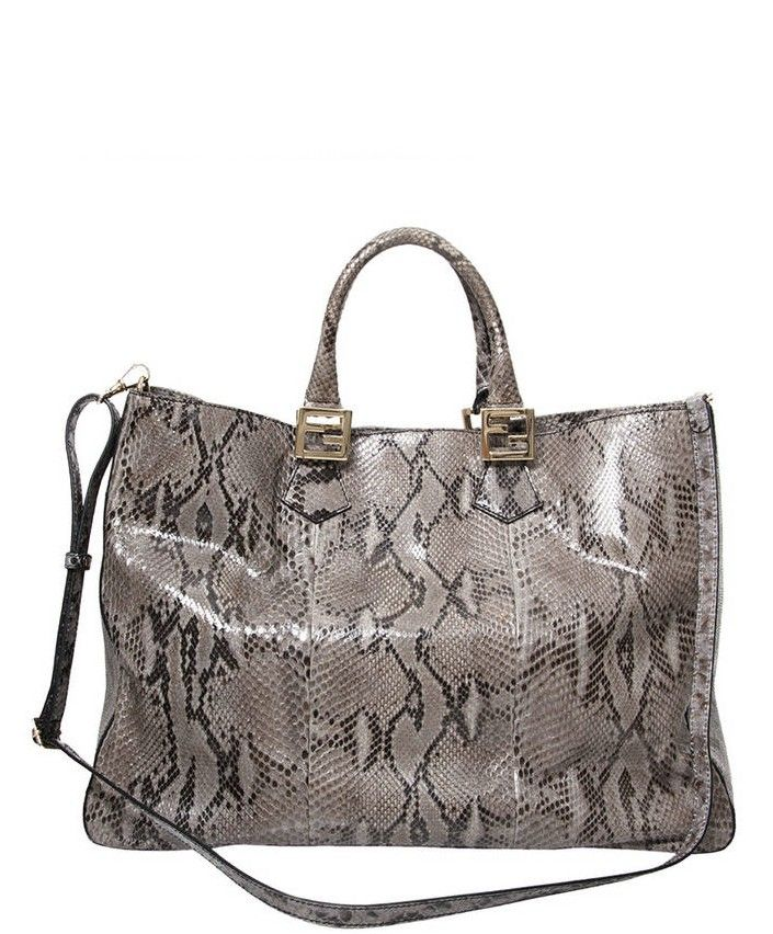 fc3bdc11e72fb9 Fendi Grey Python Twins Tote. Buy online at Labellov: authentic vintage  designer fashion, clothes, shoes, bags, accessories from Hermes, Chanel,  Dior, ...