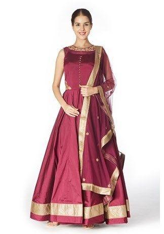 9d44cf6d5f Anarkali,Mebaz,Designer Wine Floor-Length Raw Silk Anarkali Suit ...