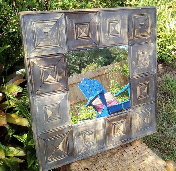 Scrap Wood Colorful MIRROR - Recycled Modern Rustic Colorful Wall Art Reclaimed Pattern Sculpture - Available Now, Ready to Ship.