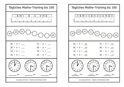 Tägliches Mathe-Training | óra, o\'clock | Pinterest | kostenlose ...