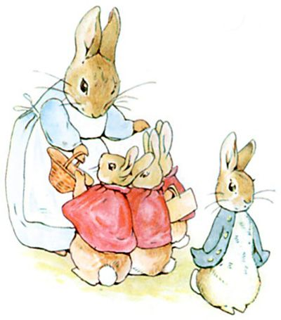 'Now my dears,' said old Mrs. Rabbit one morning, 'you may go into the fields or down the lane, but don't go into Mr. McGregor's garden: your Father had an accident there; he was put in a pie by Mrs. McGregor.