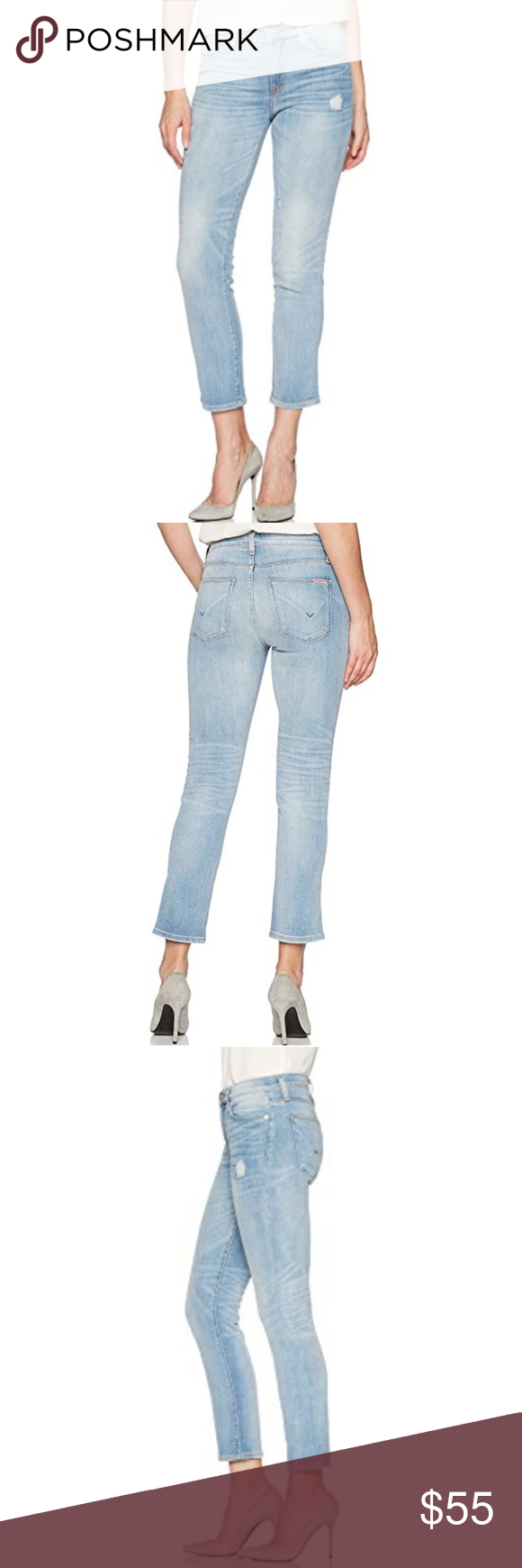 """674a4e0fcfe  Hudson  Mid Rise Crop Zoeey Straight Leg Jeans Hudson """" Zooey """" Mid Rise"""