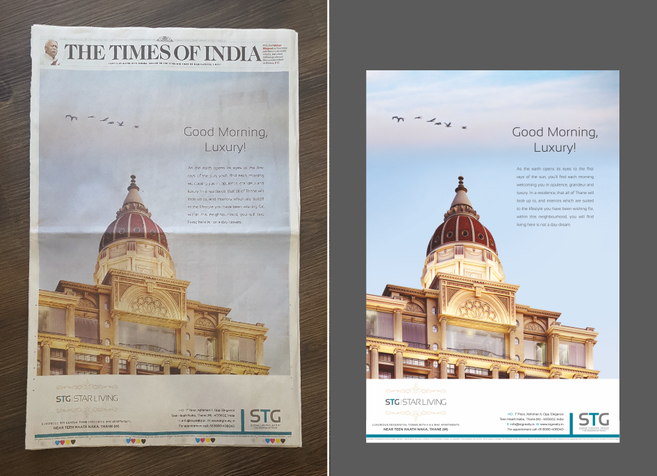 The Times of India, Jacket Cover Advertisement for STG