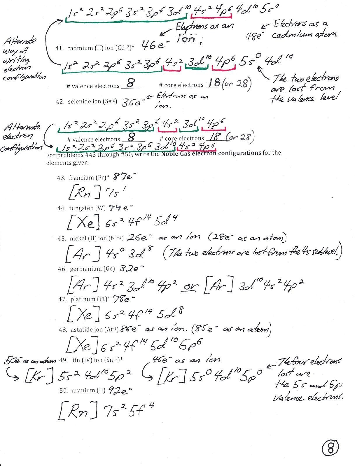 Electron Configuration Practice Worksheet Answer Key