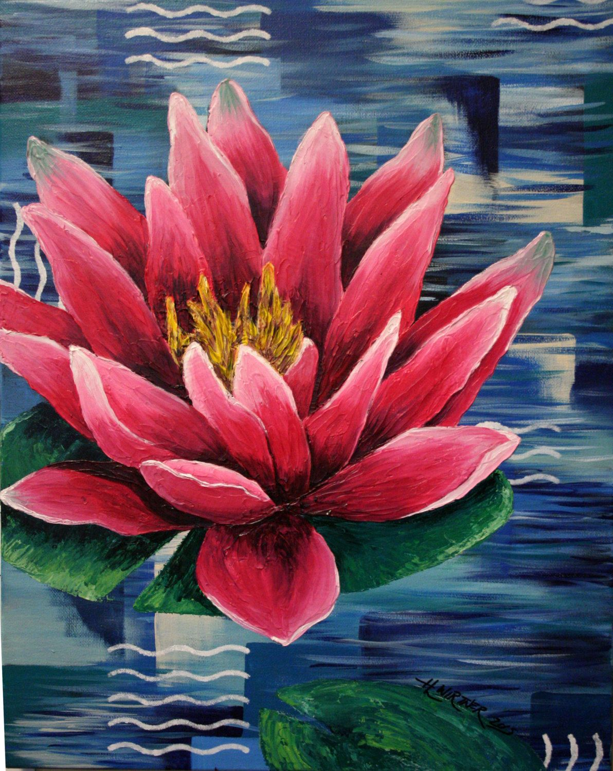 16x20 Original Acrylic Painting Of Textured Pink Water Lily On Lily