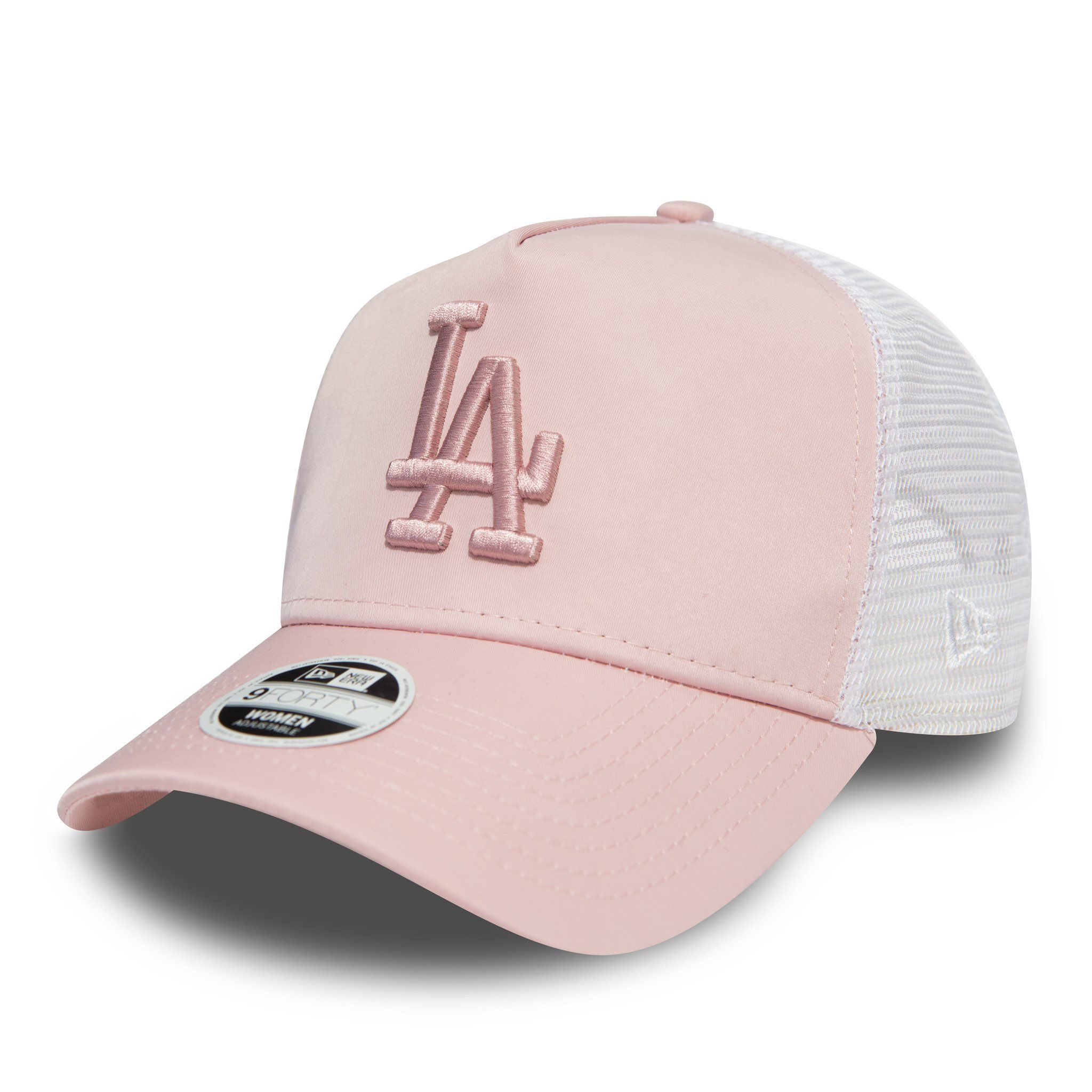 71821f550e5 LA Dodgers Womens New Era 940 Pink Satin Trucker Cap – lovemycap ...