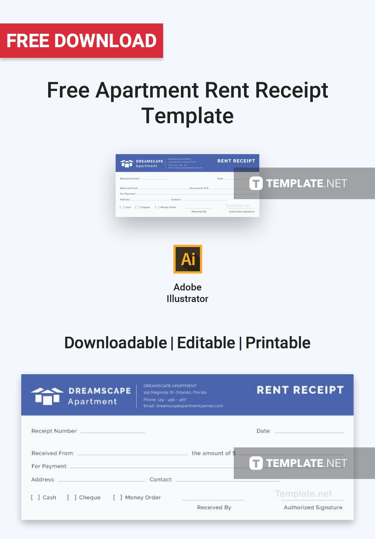 Simple Apartment Rent Receipt Template Free Pdf Google Docs Google Sheets Excel Word Template Net Receipt Template Free Receipt Template Apartments For Rent