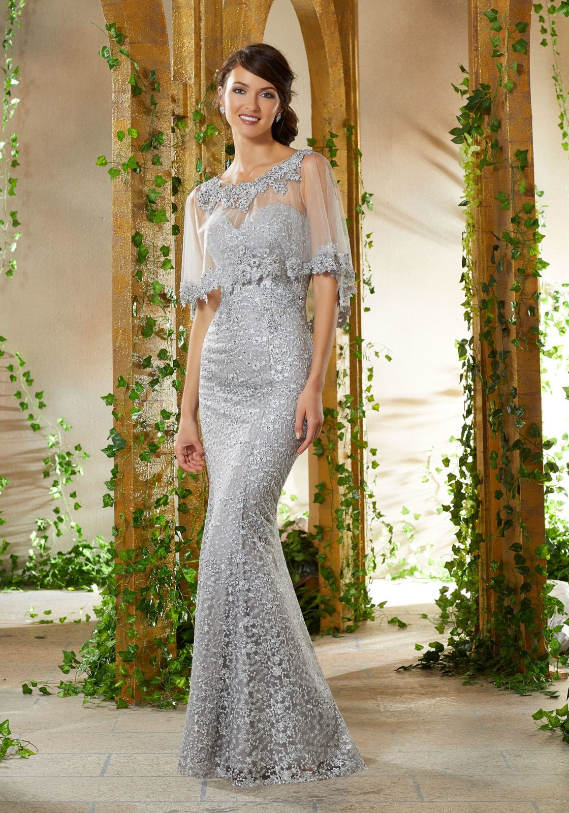 75f9ae90669 Beaded Lace Appliqués on Allover Lace with Net Yoke Matching Net Cape with Beaded  Lace Trim
