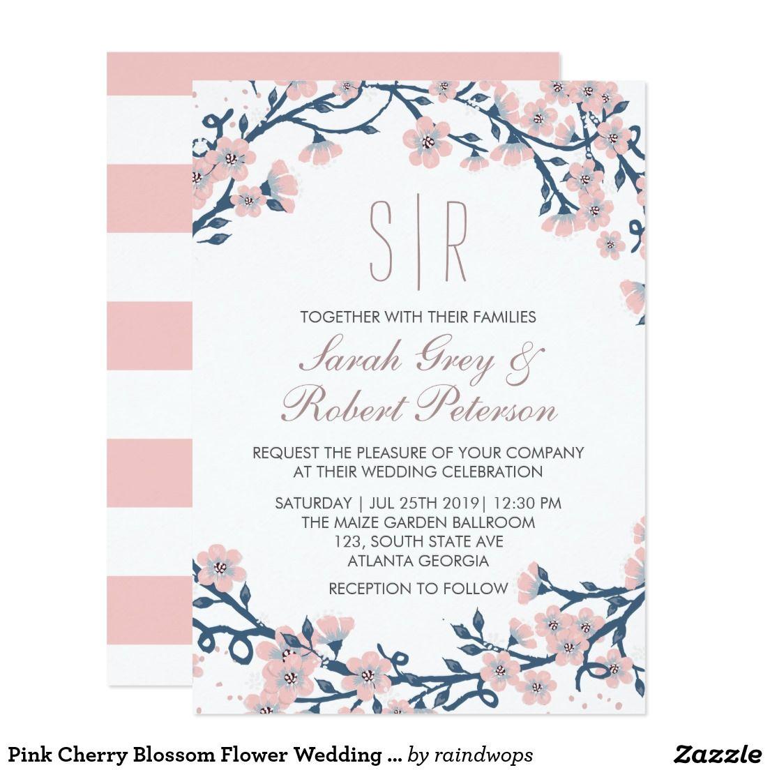 Pink Cherry Blossom Flower Wedding Invitation | invitations ...
