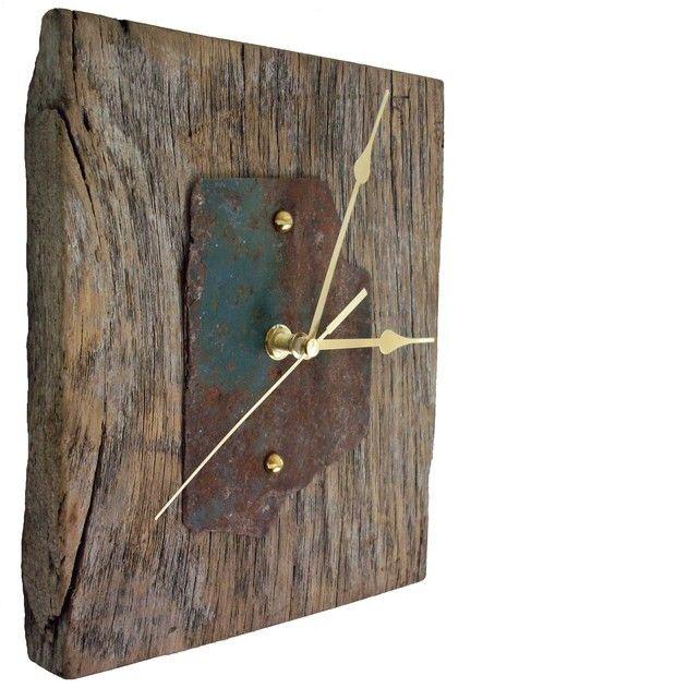 Rustic Barn Oak And Metal Mantel Clock Clock Wooden Clock Wood Clocks