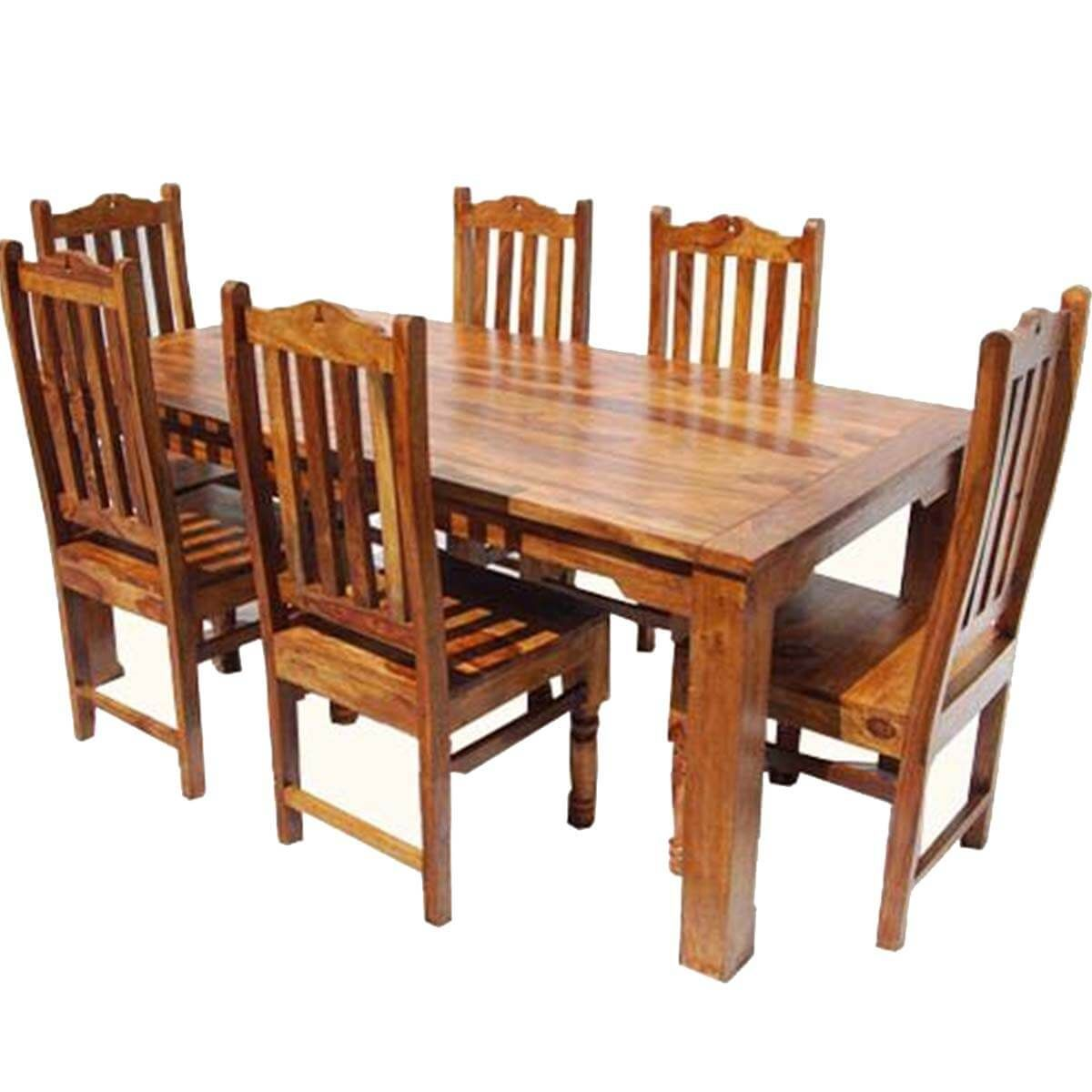Rustic Solid Wood Dallas Dining Table With Chairs Set Dining
