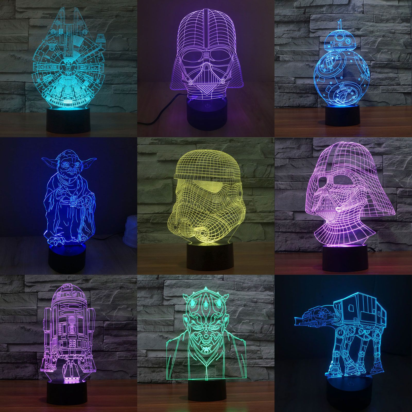 7 Color Change 3D Illusion Star Wars Touch Switch Table Lamp LED Night Light New