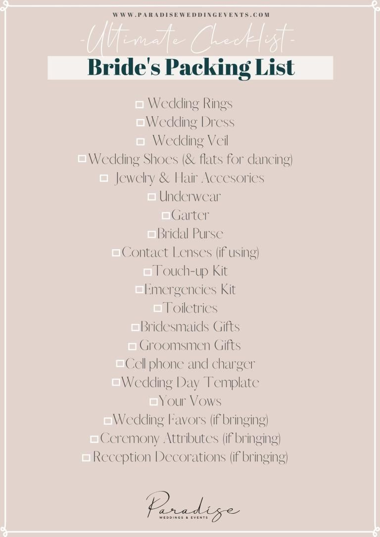 Bridal Packing List The Ultimate Checklist Paradise Weddings Events Wedding Day Checklist Wedding Beauty Checklist Wedding Checklist