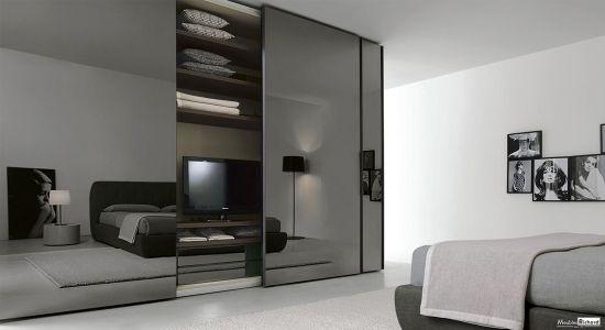 dressing avec tv sur mesure design projet immobilier pinterest meuble contemporain. Black Bedroom Furniture Sets. Home Design Ideas