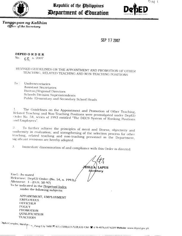 The Appointment And Sample Application Letter For Promotion Deped