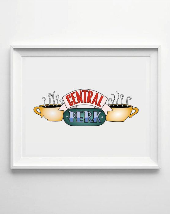 friends central perk poster central perk new york caffee print friends tv show wall art home. Black Bedroom Furniture Sets. Home Design Ideas