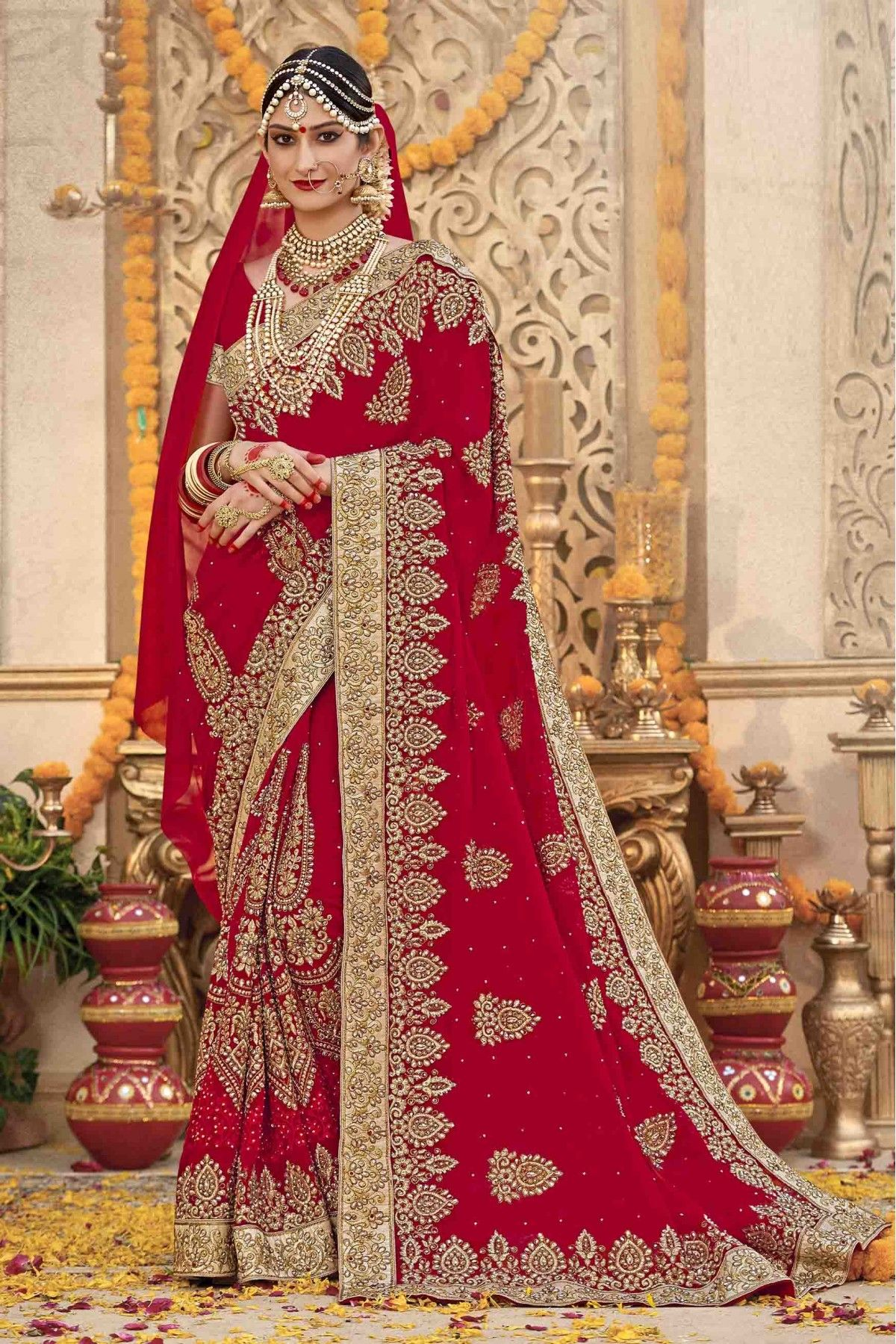 1a2c997944 Buy Laxmipati Georgette Saree In Red Colour @ ninecolours.com. Worldwide  Free Shipping Available!