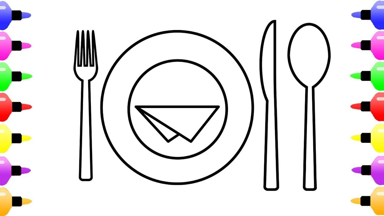How to Draw Dinner Plate for Kids | Coloring Page for Kids with ...