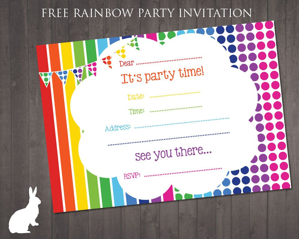free rainbow party invitation ruby and the rabbit